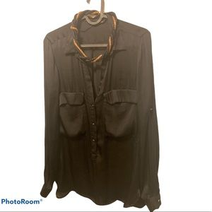 Zara black structure blouse with pockets M